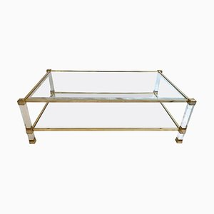 Lucite & Brass 2-Tier Coffee Table by Pierre Vandel, 1970s