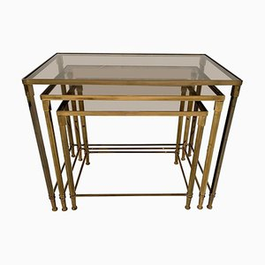 Brass and Smoked Glass Nesting Tables, 1970s