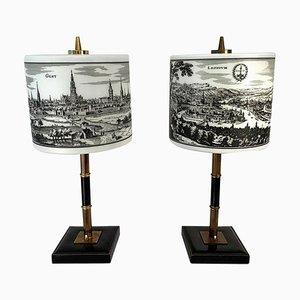 Lámparas de mesa belgas de vidrio opalino, latón y cuero, años 70. Juego de 2