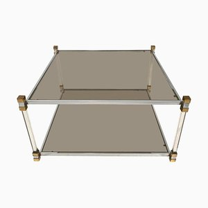 Chrome, Lucite & Brass 2-Tier Coffee Table, 1970s