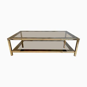 Mesa de centro chapada en oro de 23 quilates con dos niveles de Belgo Chrom, años 70
