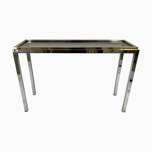 Vintage Chrome & Brass Console by Willy Rizzo for Linea Flaminia