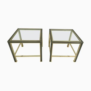 Beistelltische aus gebürstetem Stahl & Messing von Belgo Chrom, 1980er, 2er Set