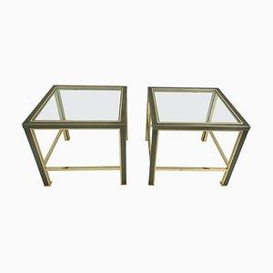 Mesas auxiliares de acero cepillado y latón de Belgo Chrom, años 80. Juego de 2
