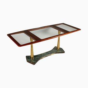 Mesa de caoba, vidrio y mármol, años 50