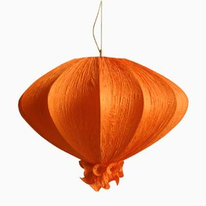 Large Silk Pendant Lamp, 1960s