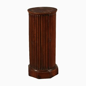 Empire Walnut Column Nightstand, 1800s