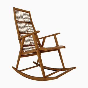 Mid-Century Beechwood & Straw German Rocking Chair