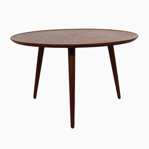 Mesa de centro con trípode escandinava redonda de teca, años 60