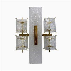 Mid-Century Austrian Glass & Brass Wall Light