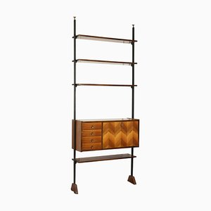 Vintage Italian Mahogany & Metal Bookcase