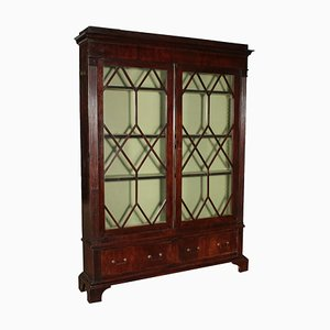 19th Century English Glass & Wood Cabinet