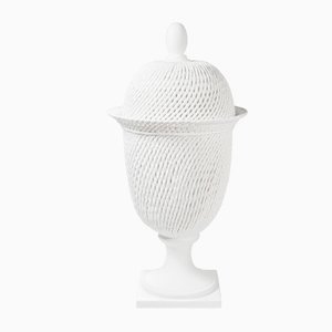 Italian White Ceramic Potiche Palladio Table Lamp with Lid from VGnewtrend