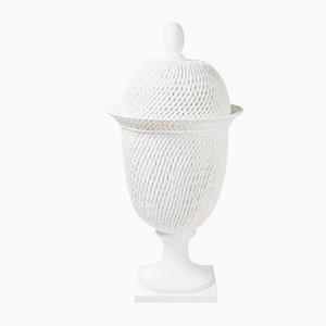 Lámpara de mesa Potiche Palladio italiana de cerámica blanca con tapa de VGnewtrend