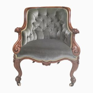 Victorian Carved Mahogany Velvet Button Back Gentleman's Chair