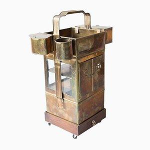 Early 20th Century Brass & Wood Bar Cart