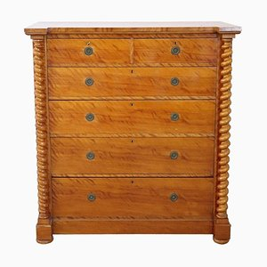 Tall Antique Birch Chest of Drawers, 1850s