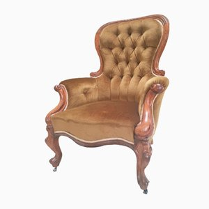 Antique Victorian Gentleman's Velvet Button Back Armchair