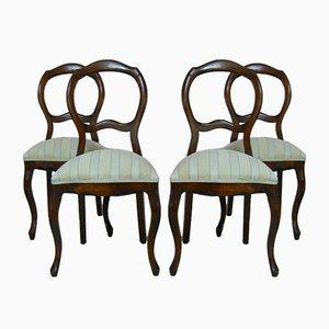 Antike barocke Esszimmerstühle, 4er Set