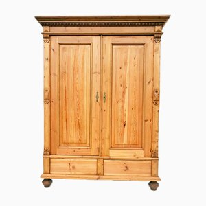 Antique German Pine Armoire, 1890s