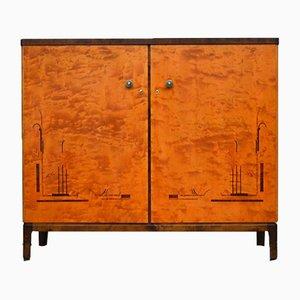 Mobiletto Art Déco in betulla, anni '20