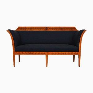 Scandinavian Upholstered Birch Bench, 1900s