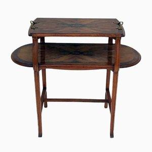 Art Nouveau Walnut Tea Table from École de Nancy, 1890s