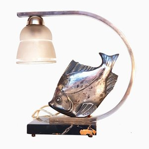 Art Deco Silver-Plated Fish Lamp, 1920s