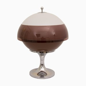 Mid-Century Perspex & Chrome Saturn Globe Lamp by Harvey Guzzini