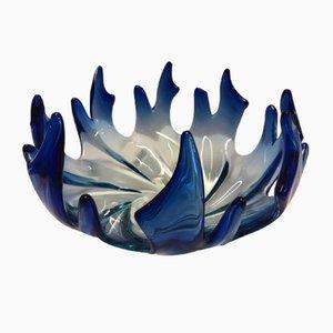 Centro de mesa de cristal de Murano azul flameado, años 60