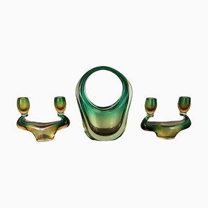 Juego de jarrón y candelabros de cristal de Murano, años 40