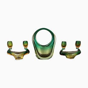 Murano Glass Vase and Candleholders Set, 1940s