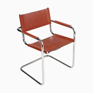 Vintage Italian Leather & Chrome Cantilever Chair