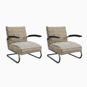 Bauhaus Model K411 Wood & Tubular Steel Armchairs from Walter Knoll, 1920s, Set of 2