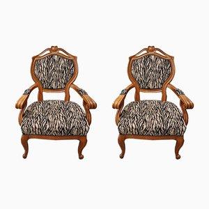 Sessel mit Pelzbezug & Gestell aus Kirschholz, 2er Set