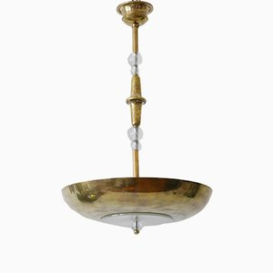 Art Deco 3-Flamed Brass Pendant Lamp or Chandelier, 1930s