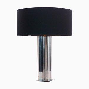 Lámpara de escritorio de cromo y vidrio, años 70