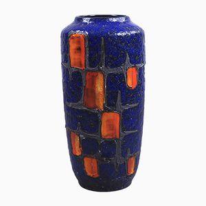 Große kobaltblaue Vintage Fat Lava Vase von Scheurich, 1960er