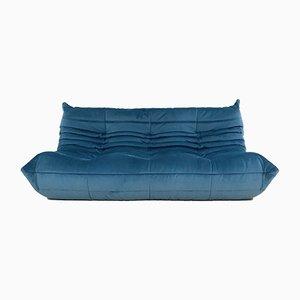 Großes Mid-Century Togo Sofa in Blau von Michel Ducaroy für Ligne Roset, 1970er