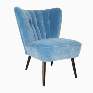 Mid-Century German Blue Velvet Armchair by Stig Lindberg, 1960s