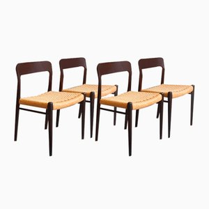 No. 75 Oak Chairs by Niels O. Moller for J.L. Møllers, 1960s, Set of 4