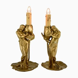Art Nouveau Bronze Lamps by Alexandre Clerget, 1900, Set of 2