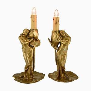 Lampes Art Nouveau en Bronze par Alexandre Clerget, 1900, Set de 2