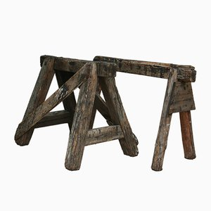 Industrial Sawhorses, 1930s, Set of 2