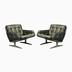 Forest Green Leather Caravelle Armchairs by Paul Leidersdorff for Cado, 1970s, Set of 2