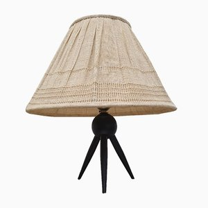 Vintage Danish Tripod Table Lamp with Fabric Shade, 1950s