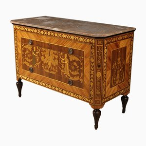 Louis XVI Style Italian Inlaid Dresser with Marble Top, 1960s