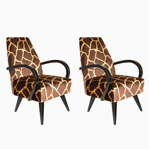 Giraffe Brown & Beige Armchairs by Henryk Lis, 1960s, Set of 2