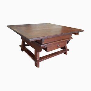 Antique Dutch Walnut Coffee Table, 1880s