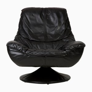 Vintage Black Leather Swivel Armchair, 1960s